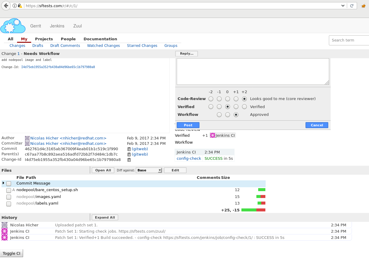 Use a CI/CD workflow to manage TripleO life cycle — RDO